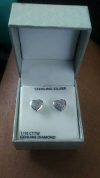 Diamond heart earrings sterling silver.  Douglasville, 30135