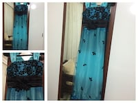 Teal and black lace tank dress