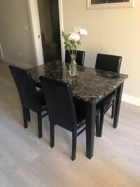 Dining Table Marble Black with Wood Base & Chairs  Toronto, M4R 2C5