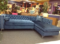 New Blue Fabric Sectional Sofa with Throw Pillows