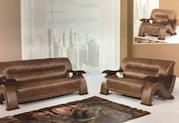 brown leather 3-seat couch with loveseat