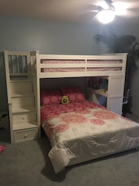 Bunkbed with twin bed on top and full on bottom.  Stairs have storage and a desk area( mattress not included ) Woodbury, 55125