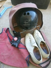 1 xlarge Bowling ball and shoes, bag ,glove and cloth
