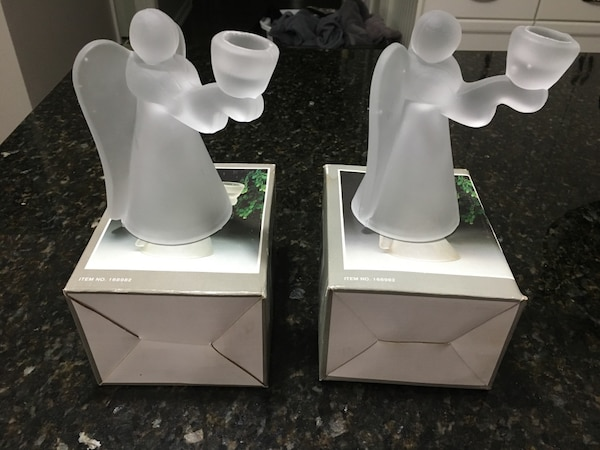 frosted glass angel candle holder with boxes