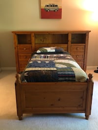 Wooden bed set from pottery barn,fits a twin size bed Storage on sides Gainesville, 20155
