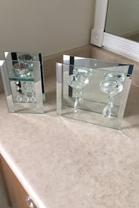 Glass and mirror tea light candle holders
