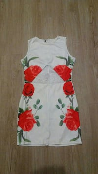 white and red floral boat neckline sleeveless mini dress Baltimore, 21202