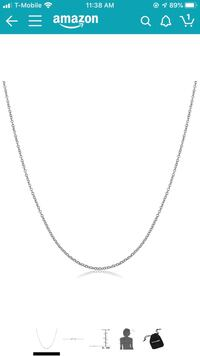18k White Gold 1 mm Round Cable Chain Necklace (18 inch)