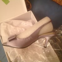 Silver satin with bow sling back 35 mi