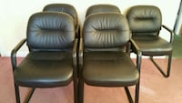 Black leather chairs set of 5 for 40.00 each East Meadow, 11554