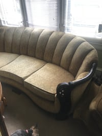 Wooden frame reupholster couch with matching two chairs Very heavy Youngstown, 44504