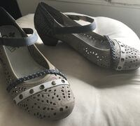 Womens' Strap Shoes with Block Heel Silver Spring