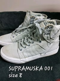 pair of white Vans Sk8 Hi Carvel, T0E 0H0