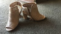 pair of brown leather open-toe heeled sandals Fresno, 93705