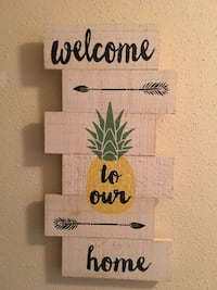 white and black wooden welcome to our home wall decor San Antonio, 78258