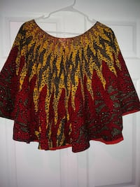 glittered red, yellow, and black scoop neck poncho Gaithersburg, 20886