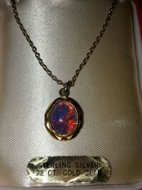 Australian Opal necklace on Sterling Silver Chain - 22 kt Gold Clad