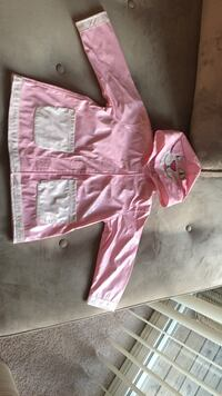 Pink and white raincoat brand new size 2