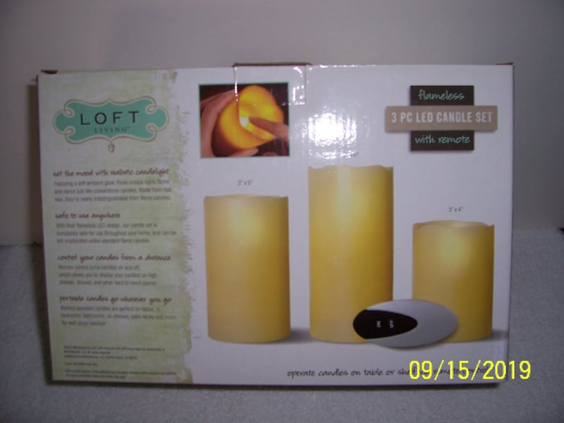 3 Piece Flameless LED Candle Set w/Remote -- New in Box f52d7881-d2e9-4fe9-9804-86775b6f65d7