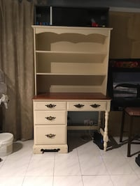 white and brown wooden desk with hutch Montréal, H1E 3K4