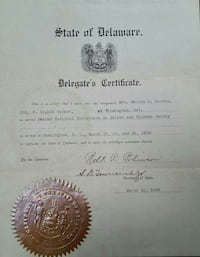 Official State of Delaware Historic Government  New Castle, 19720