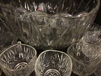 Vintage crystal punch bowl and glasses Springfield, 22151