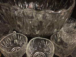 Vintage crystal punch bowl and glasses