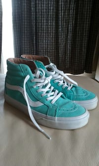 teal and white vans sk8 high size womens 8 mens 6.