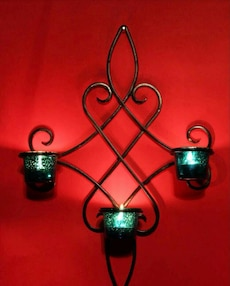 black candle sconces