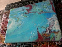 blue and green abstract painting Kitchener, N2R 1P6