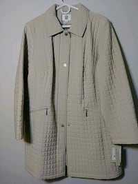 quilted gray button-up jacket