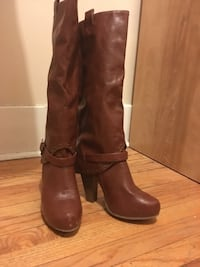 pair of brown leather knee-high boots Winnipeg, R3B