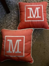 (2) custom notched throw pillows