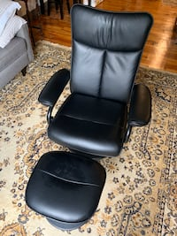 Reclining Leather Chair + Ottoman