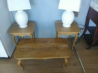 brown wooden coffee tables.2 lamps
