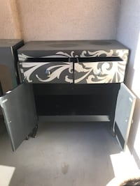 White and black wooden cabinet Vancouver, V6E 4S1
