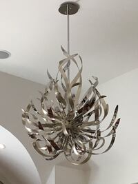 Beautiful silver stainless Steele light fixture with two matching side table pendants - 3 pieces Kleinburg, L0J 1C0