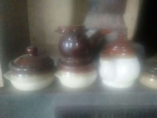 brown and white ceramic teapots