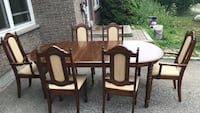 Rectangular brown wooden table with six chairs dining set Milton, L9T 3S9