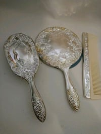 Silver vaniety set comb brush mirror