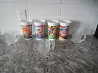 *Vintage* 1993/1994 McDonalds Flinstones  Cups/Mugs. *Please Note* These are not complete sets! The Plastic cups have 2 duplicates, and are missing 2 from the set. They are in still in great shape. The Glass Mugs have 2 duplicates, and are missing 2 from