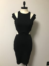 black cold-shoulder side cut empire waist mini dress