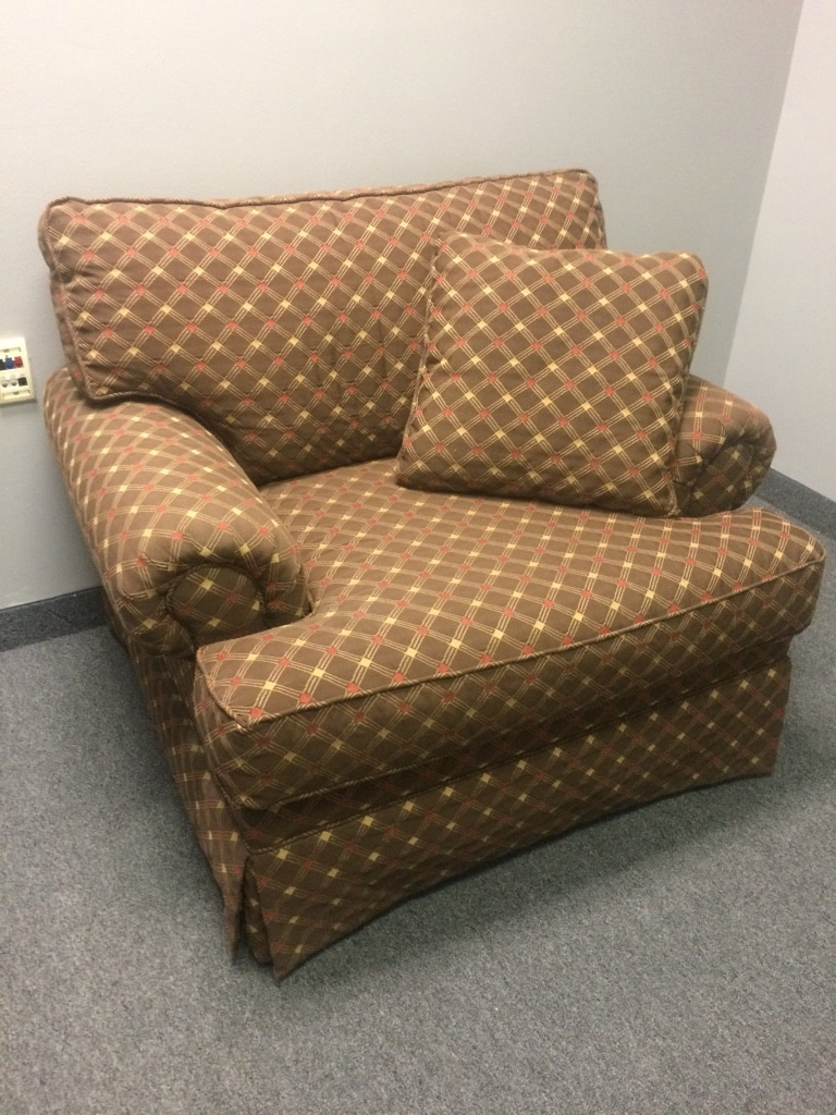 Brown And White Checkered Sofa Chair