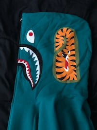Bape shark full zipper hoodie Green null