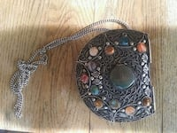Antique Indian Stone And metal art pouch