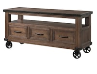 brown wooden 2-drawer console table 383 mi