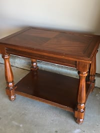 """rectangular brown wooden table 27""""L x 18"""" W x 21"""" H"""