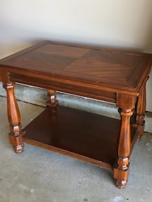 "rectangular brown wooden table 27""L x 18"" W x 21"" H"