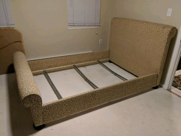 Custom fabric Ballard Designs full size bed frame