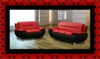 Red/black sofa and loveseat 2pc set 47 km